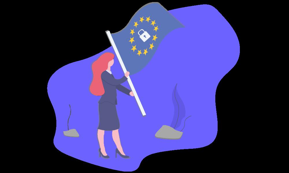 Une femme portant un drapeau sur lequel il y a un cadenas et les étoiles européennes pour illustrer la protection des données